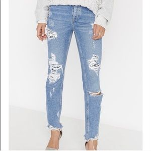 Dayglow distressed sequin high-rise